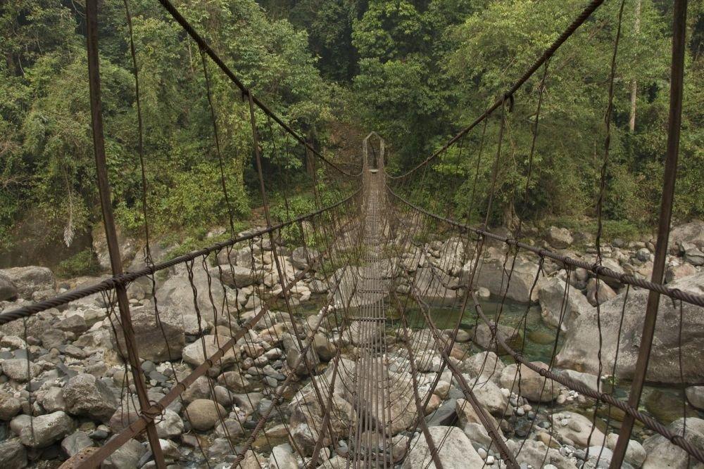 pont de métal, Meghalaya