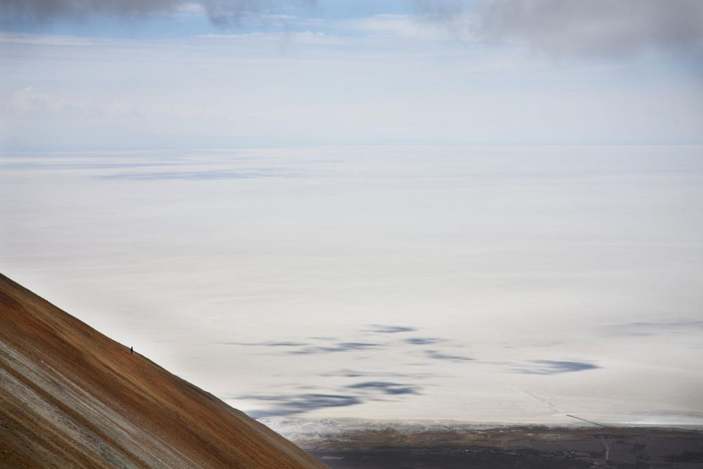 Vue sur le salar d'Uyuni, pendant l'ascension du volcan tunupa, Bolivie