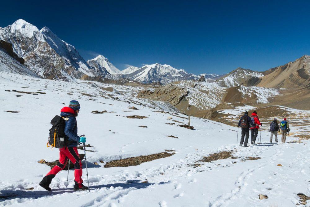 Entre le lac Tilicho et le col du Mesokanto, passage clé sur ce trek exclusif au Népal