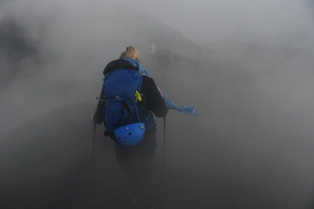 Randonneur sur le Volcan Atitlan