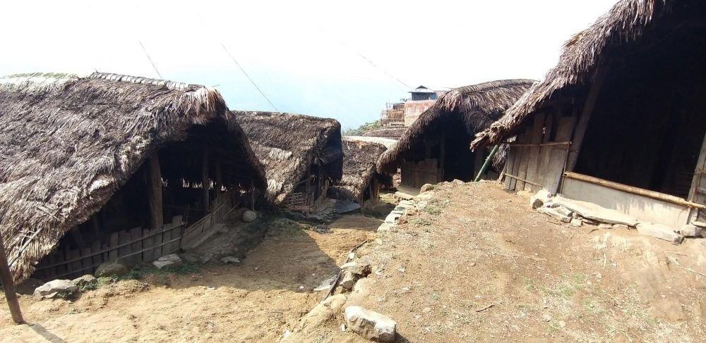 maison à toitures végétales en village konyak