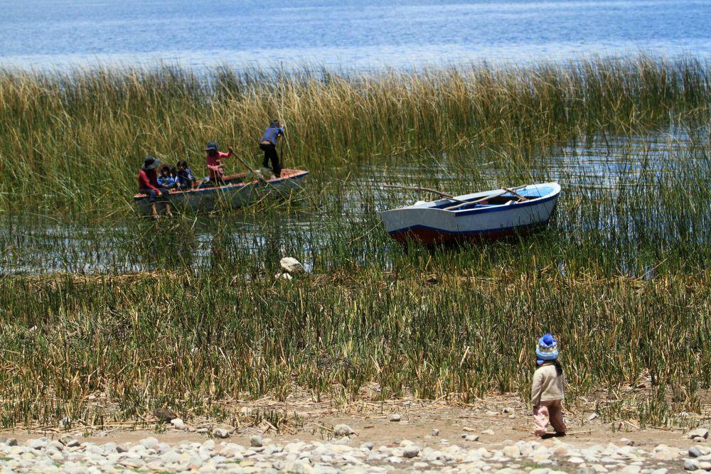 Enfants dans notre village sur la Péninsule de Chucuito, lac Titicaca, Pérou