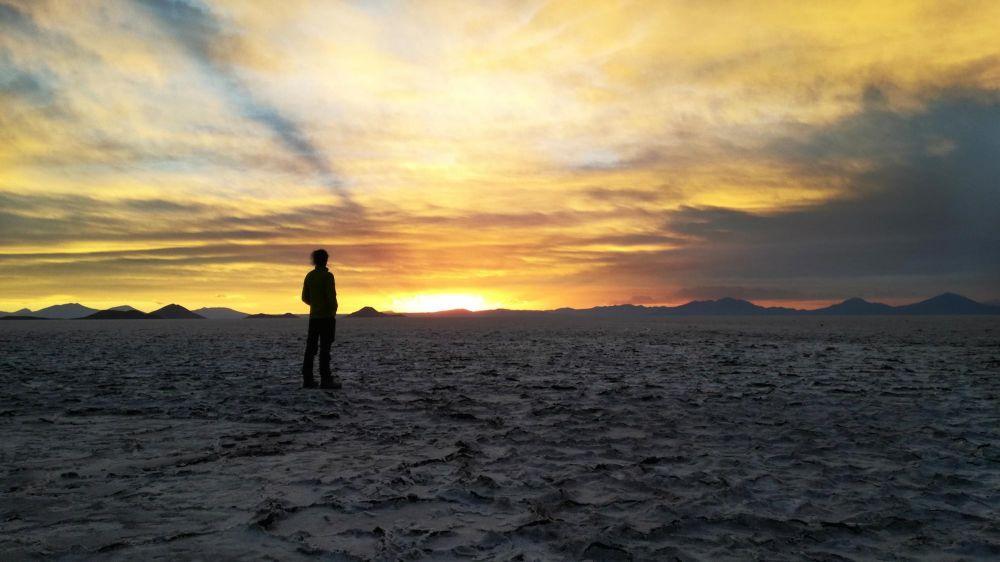 Coucher de soleil sur le salar d'Uyuni, Bolivie