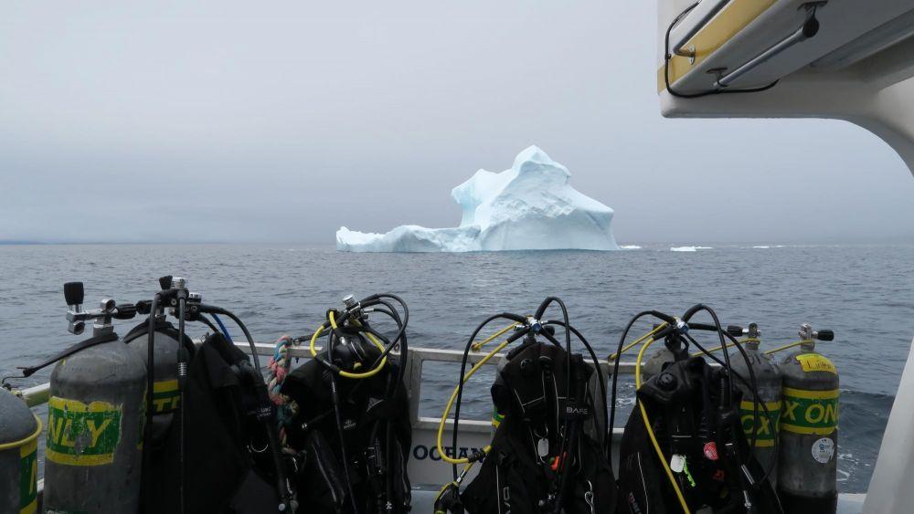 Icebergs devant un bateau