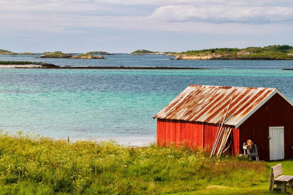 Maison traditionnel dans l'île de Senja en Norvège