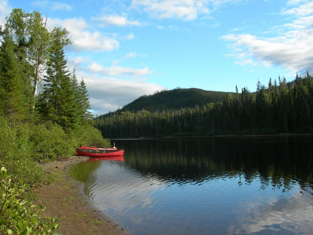 Canot dans la rivière près de Québec au Canada