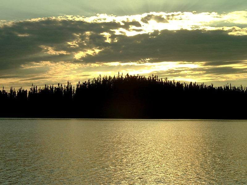 Coucher de soleil sur la forêt boréale au Québec au Canada
