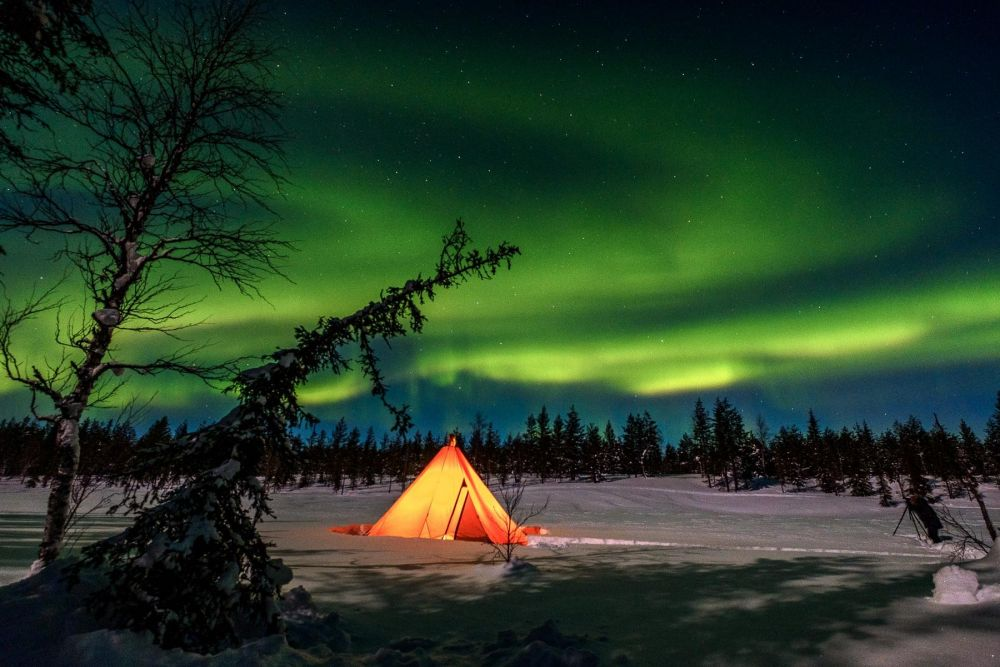 Aurore boréale en Laponie, Finlande