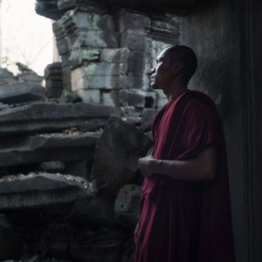 Portrait de moine lors d'un voyage photo au Cambodge