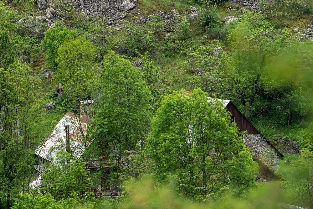 Chalets des Alpes sous le vert du printemps