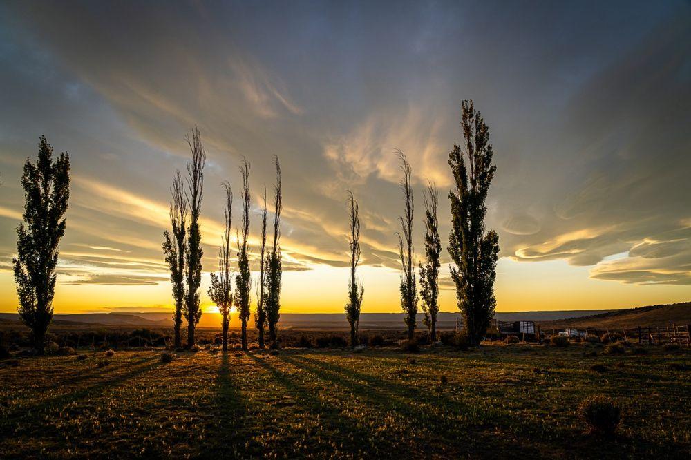 Coucher de soleil dans une estancia en Patagonie