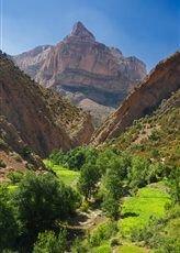 vallée verdoyante et pic rocheur
