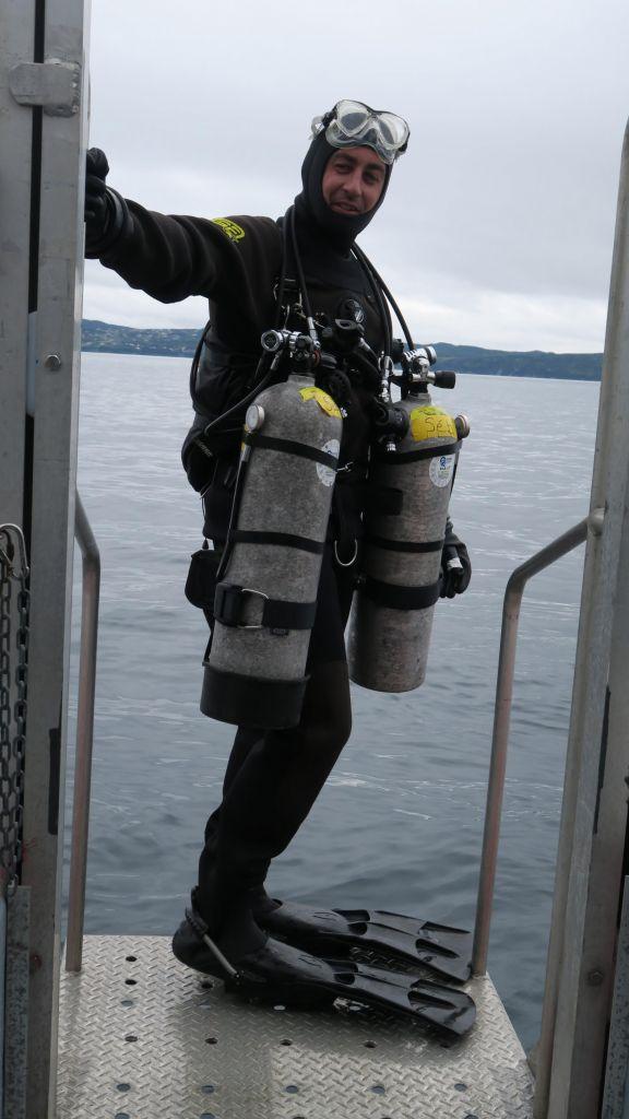 Plongeur à la mise à l'eau